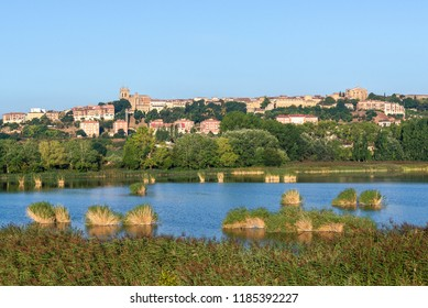Prao de la Paul lake with Laguardia town as background, Rioja Alavesa, Spain