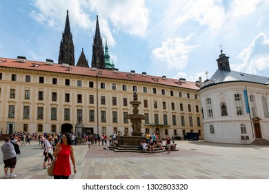 Praque, Czech Republic - Jun 8, 2018: Inner courtyard with water fountain in the royal castle.