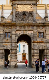 Praque, Czech Republic - Jun 8, 2018: Inner courtyard with arch gate in the royal castle.