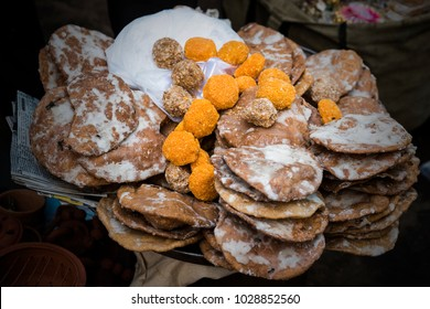 Prasad ( sweets or any food offered to god ) selling in Nathdwara, Rajasthan, India