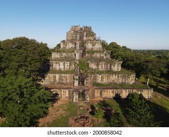 Prasat Koh Ker , Koh Ker Temple in beautiful drone shot - Shutterstock ID 2000858042