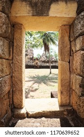 Prasat Sdok Kok Thom The Historical Park in Thailand Looking From Inside of The Door, Is An Ancient Khmer Hindu Temple Dedicated Shiva Made From Red Laterite Brick and Sandstone.