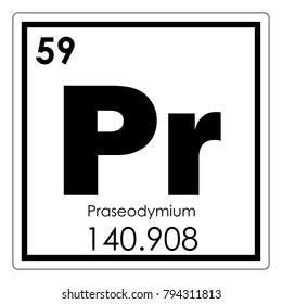 Praseodymium chemical element periodic table science symbol