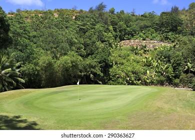 Praslin Island, Seychelles - March 10, 2015: Beautiful golf course at the Constance Lemuria Resort.
