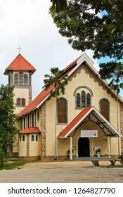 PRASLIN, SEYCHELLES-DEC. 14, 2014:  St. Anne's Catholic Church, Praslin Island, Seychelles is one of three Christian churches on the island.