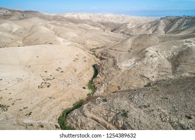 Prat River in Israel. Wadi Qelt valley in the West Bank, originating near Jerusalem and running into the Jordan River near Jericho and the Dead Sea. Nahal Prat, in Judaean Desert.