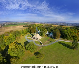 Pratecky Hill with the Tumulus of Peace. Reminder of the fallen in the Battle of the Three Emperors at Austerlitz (Slavkov) of 2.12.1805 near Brno, Moravia, Czech Republic - Shutterstock ID 1526296745
