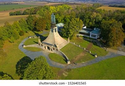 Pratecky Hill with the Tumulus of Peace. Reminder of the fallen in the Battle of the Three Emperors at Austerlitz (Slavkov) of 2.12.1805 near Brno, Moravia, Czech Republic - Shutterstock ID 1526401565