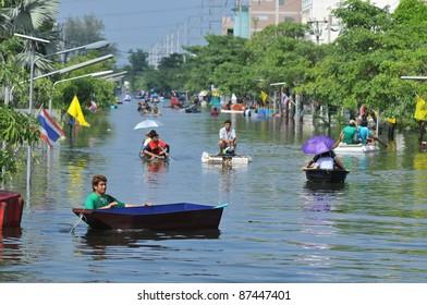PRATHUMTHANI, THAILAND - OCTOBER 22: Heavy flooding from monsoon rain in Ayutthaya and north Thailand arriving in Bangkok suburbs on October 22, 2011 in Prathumthani, Thailand.