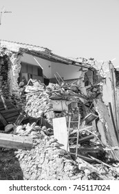 Prato of Amatrice,Italy. 29 April 2017. The damage caused by the earthquake that hit central Italy in 2016. Prato of Amatrice,Italy. 29 April 2017