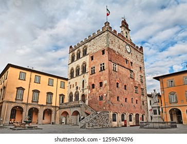 Prato, Tuscany, Italy - Historic palace Palazzo Pretorio that was the old city hall, located town center in the ancient square Piazza del Comune