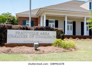 Prattville, Alabama, USA - May 12, 2018: Building exterior and sign for the Prattville Area Chamber of Commerce.