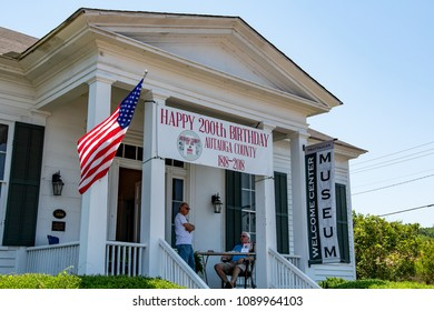 Prattville, Alabama, USA - May 12, 2018: Prattaugan Museum & Visitor Center with a banner celebrating the 200th birthday of Autauga County  during Prattville Cityfest.