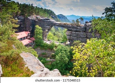 Pravcicka brana the largest natural sandstone arch in Europe in Czech Switzerland