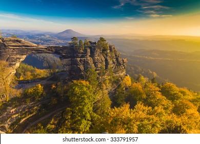Pravcicka Gate in autumn colors, Bohemian Saxon Switzerland, Czech Republic