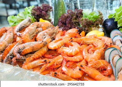 Prawn on ice, Seafood buffet line in hotel restaurant