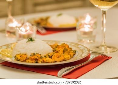 Prawn with rice and white wine