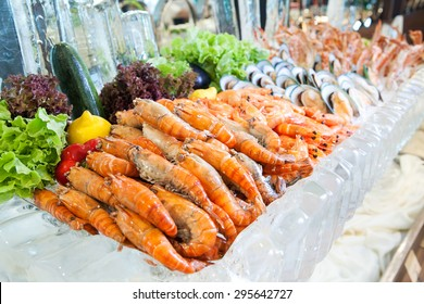 Prawn River, Seafood buffet line in hotel restaurant
