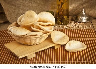 Prawn Shrimp Crackers (Krupuk) on wooden background