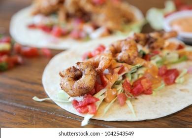 Prawn shrimp taco closeup