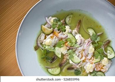 Prawn Shrimps Aguachile mexican cuisine