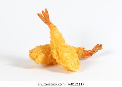 Prawn Tempura deep fried battered shrimp on white background