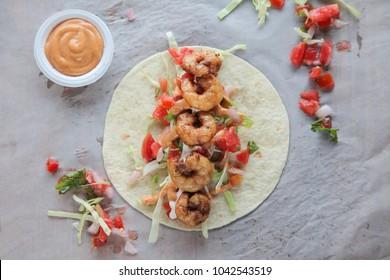 Prawn tortilla tacos open face wrap