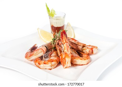 prawns on a plate in a restaurant