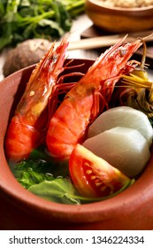 Prawns in sour broth. Very delicious dish from Philippines. Sinigang na Hipon