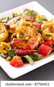 Prawns stir fried with fish sauce