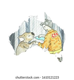 Pray for Australia map volunteer fire service, cry koala drinking water, painting watercolor.