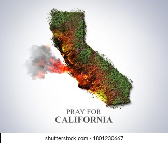 Pray for California. USA bush fire concept. California map shape tree burned by wild fire. Many Animals killed in Fire. California burned. Save tree save the animal- Environment day concept