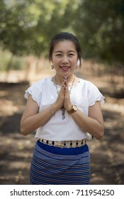 Pray, Thai's culture for greeting.