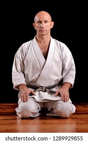Pray yoga position karate professor portrait