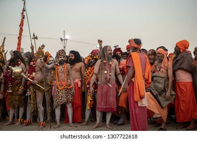 Prayagraj (formerly Allahabad) India - January 15, 2019: Naga Sadhus in Kumbh Mela. Kumbh is the largest congregation on earth.This year it is expected 120 mln. people will attend