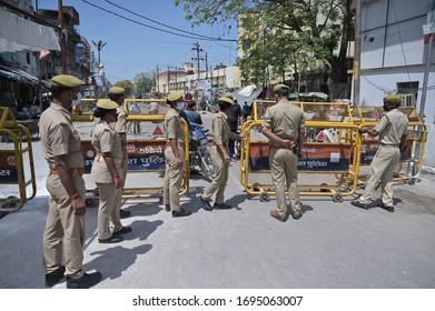 Prayagraj:  Police barricade old city after a Covid-19 positive case found during nationwide lockdown in wake of Coronavirus pandemic in Prayagraj on Monday, April 06, 2020.