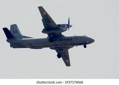 Prayagraj Uttar Pradesh India- March 16 2021: Indian airforce cargo landing at Central air command