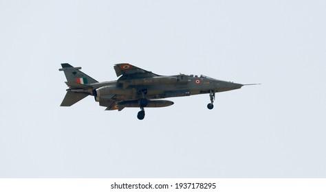 Prayagraj Uttar Pradesh India- March 16 2021: Jaguar fighter jet landing at central Air command