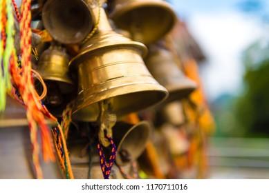 Prayer bells at buddhist temple in Kathmandu, Nepal