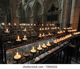 Prayer candles inside York Minster in York, England.