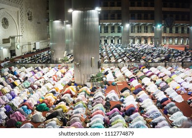 Prayer at Dawn at Istiqlal Mosque Jakarta