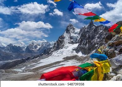 Prayer flag on top of Renjo la pass, Everest region, Nepal, Asia