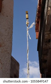 Prayer flag pole in Liker Monastery, Ladakh, India