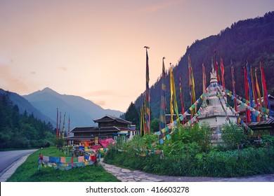 Prayer flags around the gompa inside the Jiuzhaigou Tibetan Village, Sichuan, China