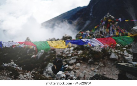 Prayer Flags Close Up, Everest Base Camp Trek Lobuche to Gorak Shep, Nepal
