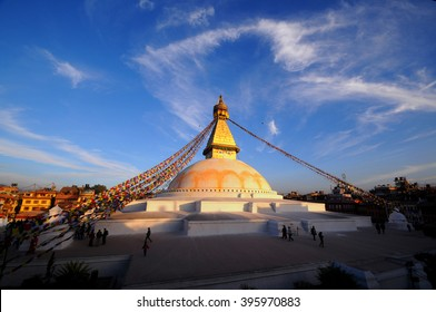 Prayer flags flying on the Boudhanath Stupa. symbol of Kathmandu, Nepal.