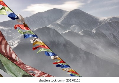 Prayer flags in front of the Yushu mountains, Qinghai province, China