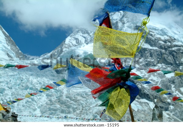 Prayer Flags and Khumbu Icefall at Mount Everest Base Camp - 2