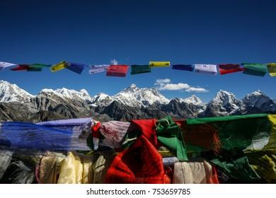 Prayer Flags and Mt. Everest from Renjo La, Sagarmatha National Park, Solukhumbu Region, Nepal