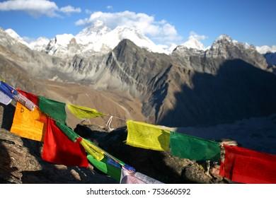 Prayer Flags on Gokyo Ri with Everest in the Background, Sagarmatha National Park, Solukhumbu Region, Nepal